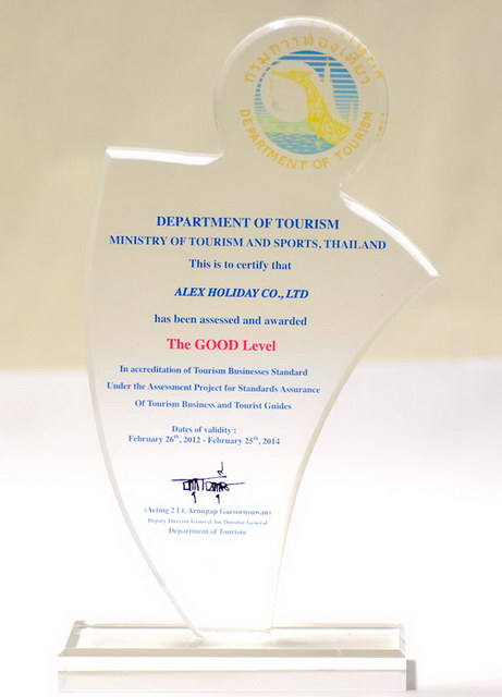 Certified by Department of Tourism Ministry of Tourism and Sports of Thailand